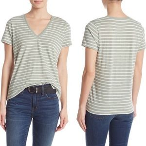 Madewell Theresa Green Striped V-Neck T-Shirt XL